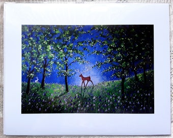 Evening in the Bluebell Wood 10 x 8 Giclee print