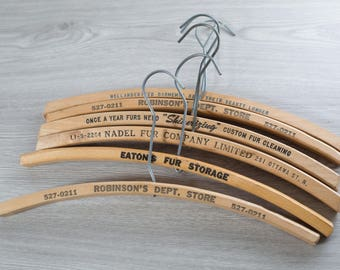 Wooden Fur Coat Hangers / Set of 6 Vintage Clothing Hangers from Toronto Canada with Printed Advertising