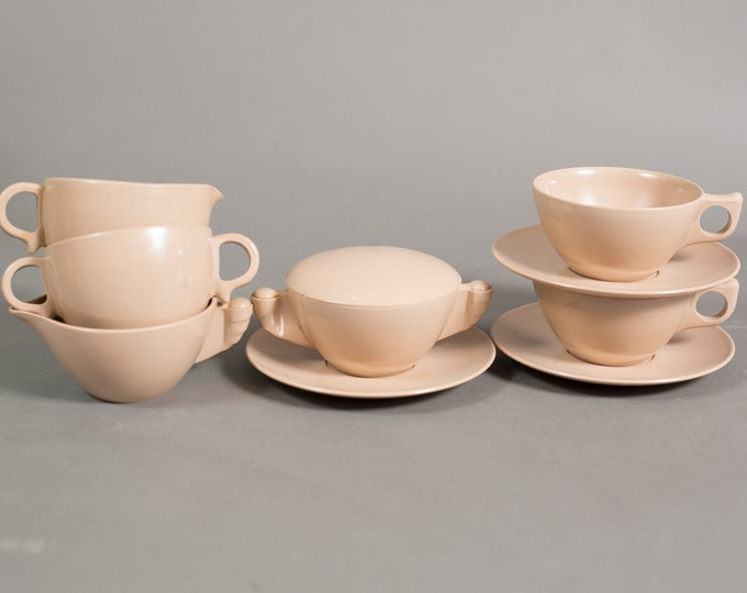 Eaton's Tecoware Cappuccino Cups, Saucers, Cream and Sugar - Vintage Set of Brown/Beige Melmac Tea Cup with Handles / Made in Canada