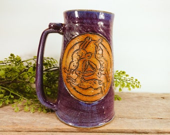 Triple Hares Stein 28 oz - Large Mug for Coffee - Statement Mug - Fall Coffee Mug Mugs - Craft Beer Decor = Office Mug - Mesiree Ceramics