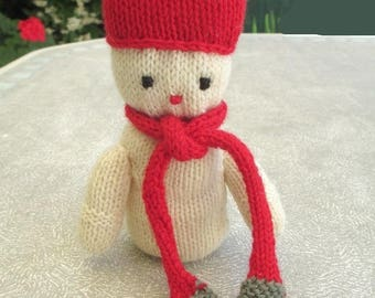 Stuffed plush character red and white knit
