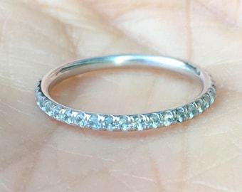 Aquamarine Eternity Ring 2mm Pave Aquamarine Full Eternity Band 14K Eternity Wedding Band Matching Aquamarine Pave Birthstone Stacking Ring