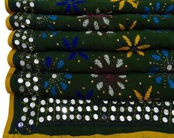 Free Shipping Vintage Dupatta Phulkari Scarf Embroidered Georgette Women Wrap Drape Green Fabric Stole DPP688