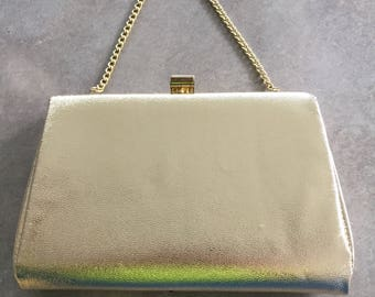 80s Vintage Metallic Gold Clutch with Gold Chain Strap