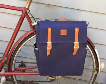 Bicycle pannier/Navy blue canvas and leather pannier/bicycle messenger/backpack pannier/ bicycle accessories/ canvas backpack