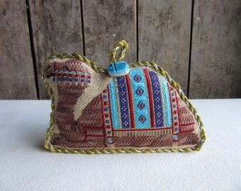 Vintage Needlepoint Camel,Three Kings Ornament,Handmade Christmas Tree Ornament,Camel Lovers Gift,Three Kings Camel,Christian Christmas Gift