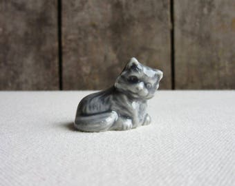 Vintage Wade Family Pet Series Gray Cat, Kitten, Grey Cat, Wade Whimsies Family Pet Series, Wade Porcelain Cat, Kitten, Animals,Wade England