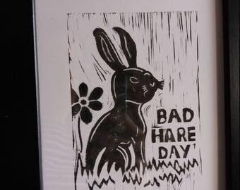 Bad Hare Day - Framed Hare Linocut Print