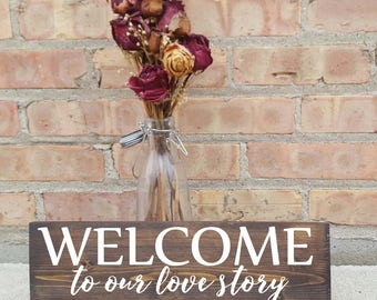 Welcome to our love story, wood signs, home decor, wedding decor, wedding signs, wedding gift, anniversary