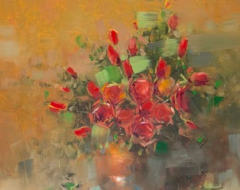 Red Roses, Original oil painting, painting on canvas, handmade art, impressionism, One of a kind