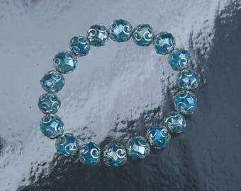 Blue Glass Beaded Bracelet