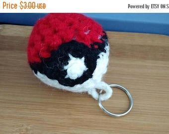 Retrocon Sale - Hand Crocheted Pokeball Keychain - 3 inches