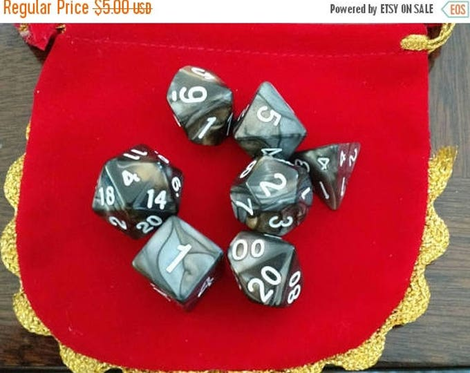 Retrocon Sale - Rusty 7 Die Polyhedral Set with Pouch