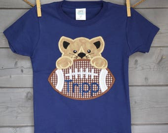 Personalized Football Wildcat Nittany Lion Face Applique Shirt or Onesie