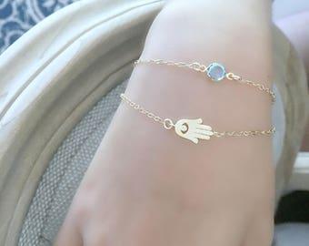 layered Hamsa Bracelet Aquamarine Birthstone cz Hand Bracelet Hamsa jewelry personalized bracelet Layered bracelet Swarovski birthstone