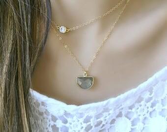gold vermeil labradorite necklace labradorite necklace labradorite jewelry half moon gemstone necklace cz necklace boho beach wedding gift