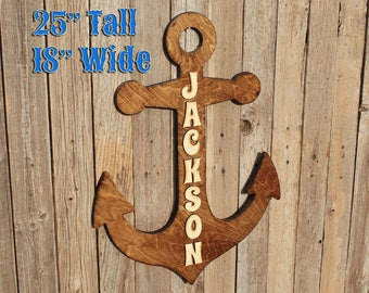 Anchor Wooden Sign Nautical Nursery Wooden Anchor Wooden Sign Anchor Blue Ocean Decor Coastal Wall Art Nautical Baby Shower Wood Anchor Sign
