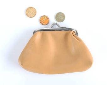 Vintage Synthetic Leather Woman Money Purse, Small Retro Beige Change Purse, Vintage Leather Portfolio, Folding Billfold, Vintage coin purse