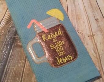 Raised on Sweet Tea and Jesus Applique - Jar - 3 Sizes  - Embroidery Design -   DIGITAL Embroidery DESIGN