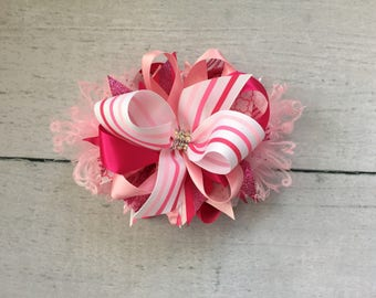 Pink stripes bow