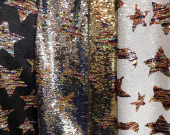 New!!1yard Stars&Moon Flip Sequin Fabric,Reversible Sequin Fabric,Sequins on Mesh Fabric,Two-Tone Flip up Same color Mermaid Sequin Fabric