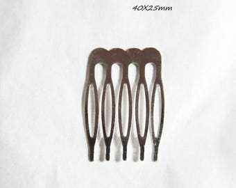 X 1 hair comb silver blank 40X25mm