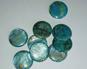 Mother of Pearl puck beads 4 X turquoise thread gold 20mm