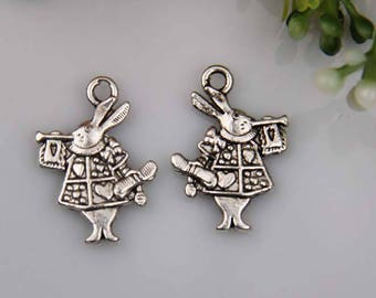 X 2 silver Alice rabbit Tibetan 20x14mm