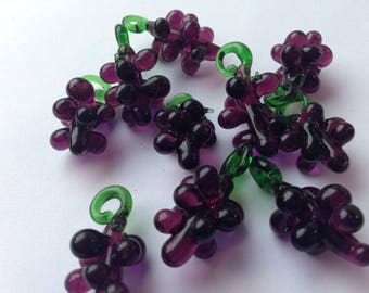 X 2 grape purple/green glass