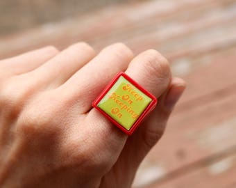Cute Retro Plastic Keep On Keeping On Square Encouragement Statement Ring