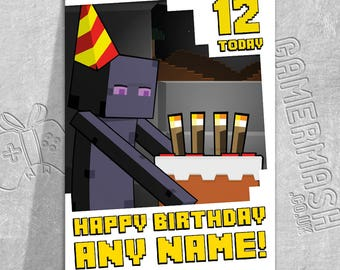 PERSONALISED BIRTHDAY CARD - Enderman Cake Bordered - Minecraft Themed