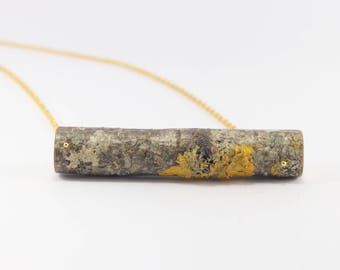 Birch Wood Necklace in Gold color chain Large Natural Branch . Eco friendly. Handmade for nature lovers