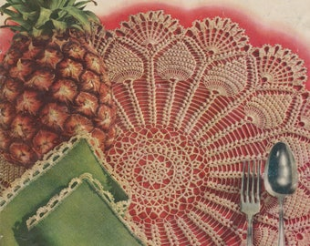Crochet Tatting Booklet Pick of the Pineapples Coats Clark 287 Vintage 1952
