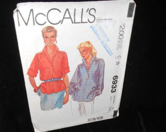 Misses Top McCalls 6933 Womens Top Size 8 Pullover Stand up collar Vintage