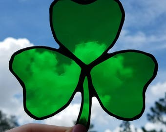Green Stained Glass Shamrock