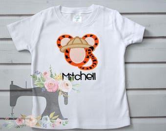 Safari Tiger Mickey applique shirt with name
