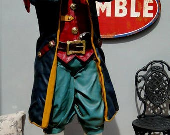 6' Life Size Pirate Caribbean Statue Captain w Telescope Paruche - The Kings Bay