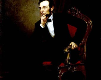 """Portrait of Abe Lincoln, President, by Healy, 1869, US Presidents, Abraham Lincol portrait, US history,  11x14"""" Cotton Canvas Print"""