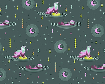 1/2 Yard - Spirit Animal - Otter N Chill - Lunar - Tula Pink - FreeSpirit - Fabric Yardage - PWTP102.LUNAR