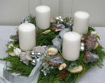 Advent Wreath Christmas wreath freshly bound with 4 white candles 33 cm