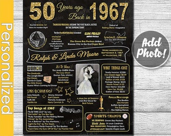 50th Anniversary Gifts for Parents w/ Photo, 50th Anniversary Chalkboard Poster Sign Party Decoration PRINTABLE 1967 Golden Anniversary Gift