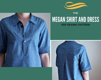 Megan Shirt:  PDF printable Sewing Pattern.  Button up shirt for women, printable PDF pattern in size 4 to 22,  plus sizes included.