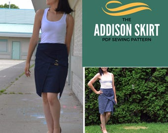 Addison skirt:  Instant download PDF sewing pattern and sewing tutorial.  Sizes from 4 to 22 in letter and A4 format.