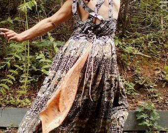 FESTIVAL DRESS Long Dress Tribal Dress Crochet Dress Hippie Dress Maxi Dress Boho Dress Mix Match Dress One of a Kind