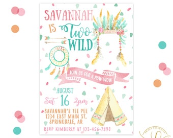 Two Wild Invitation | Teepee Invitation | Tribal Invitation | 2nd Birthday | Second Birthday Party | Boho Party | Boho Invitation | Floral