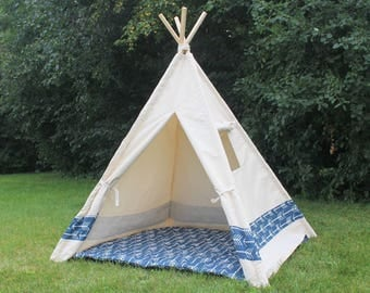 Color Block Canvas Teepee with Window, Kids Play Tent Playhouse, Tepee, Choose Navy or Red Arrows or Solid Color Stripe, Can Include Mat