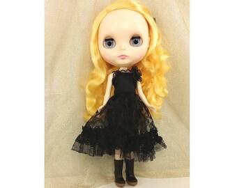 blythe doll, blythe dress, black lace dress, black dress
