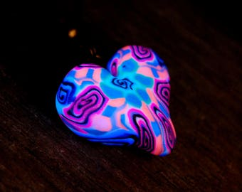 FREE Shipping ! Heart Pendant Necklace UV Blacklight Reactive Unisex with glow in dark accents Love Unique