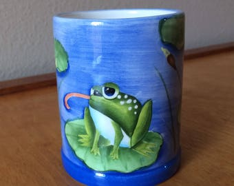 Hand Painted Frog and Lily Pad Bud Vase or Pencil Holder by NOHO Studios for Clever Choice