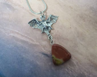 Bat necklace with Red Jasper gemstone drop  CCS01